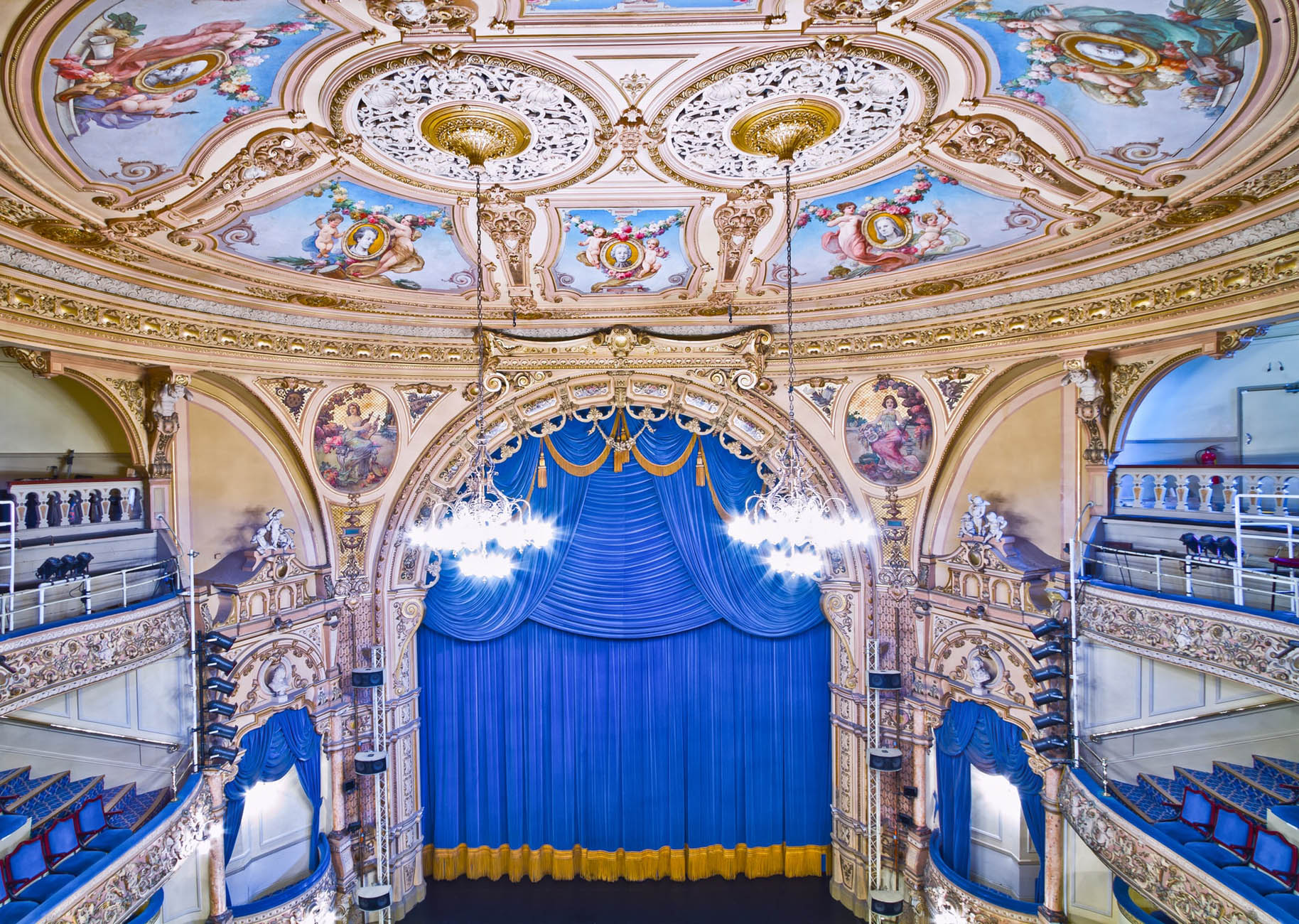 Ornate Theatre Stage Blue Curtain