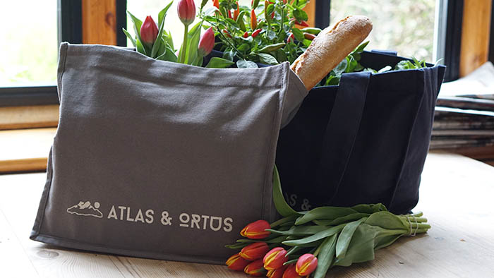 Canvas Grocery Bag with Baguette and Tulips