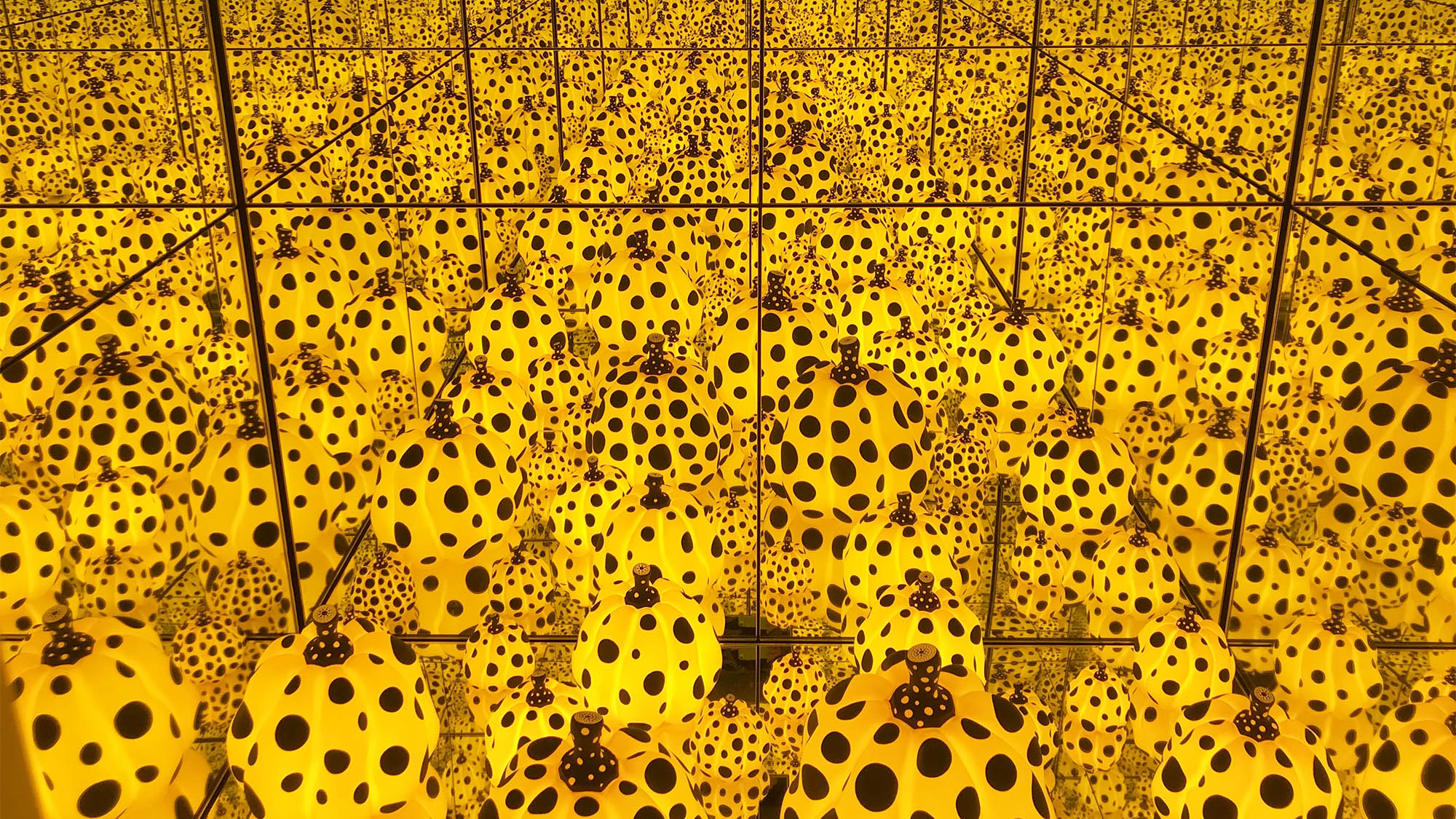 Yellow Pumpkin Black Polka Dot Kusama Infinity Room
