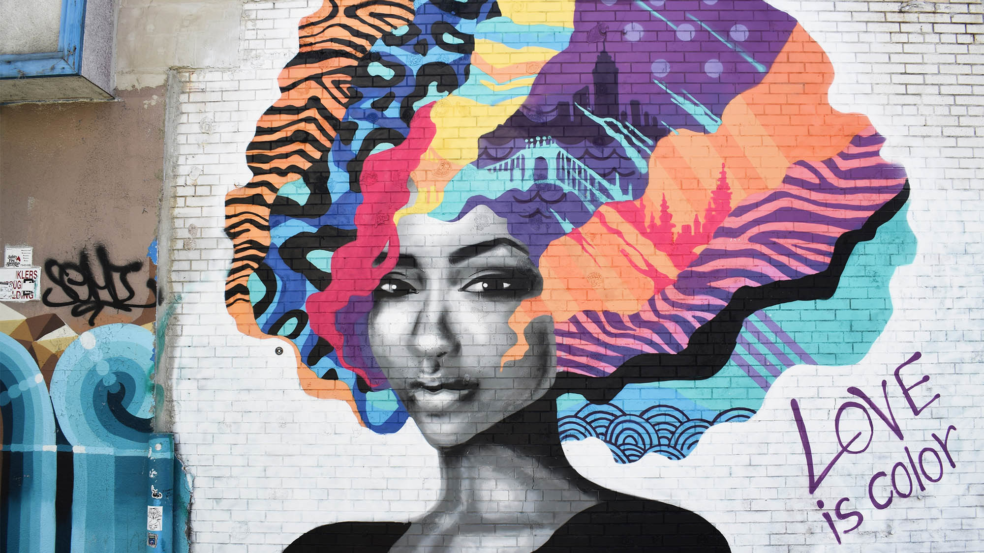 African American Woman with Rainbow Afro Mural