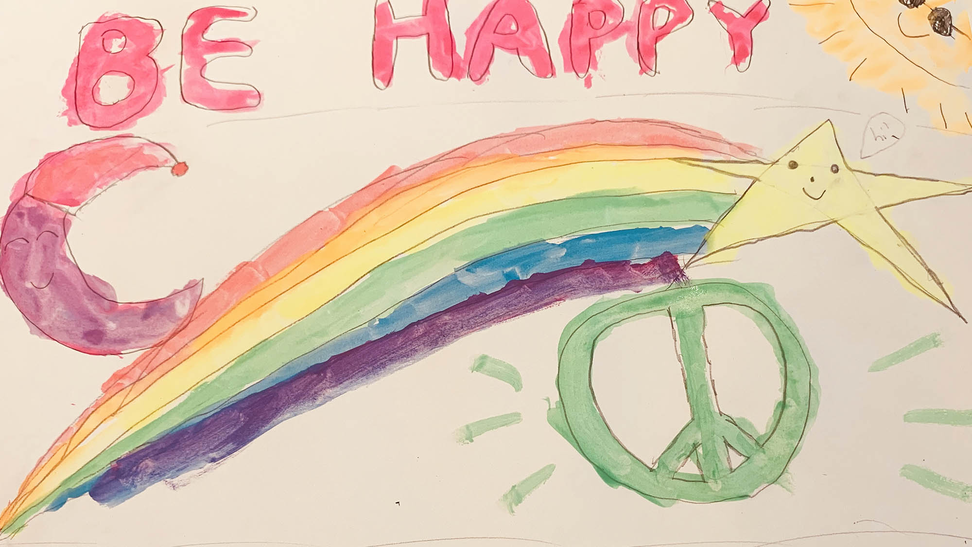 Kids Be Happy Drawing of Rainbow and Peace Sign