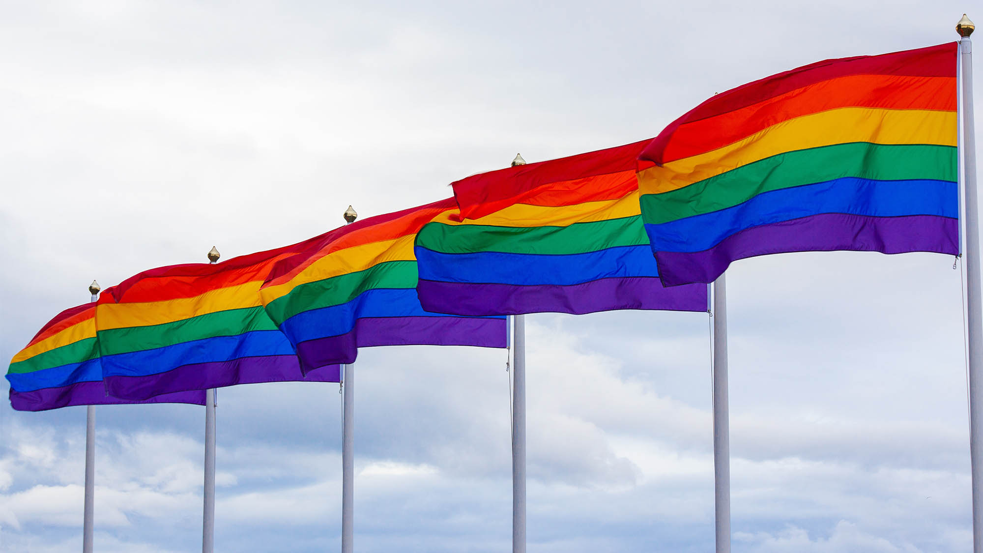 Rainbow Pride Flags in Sky