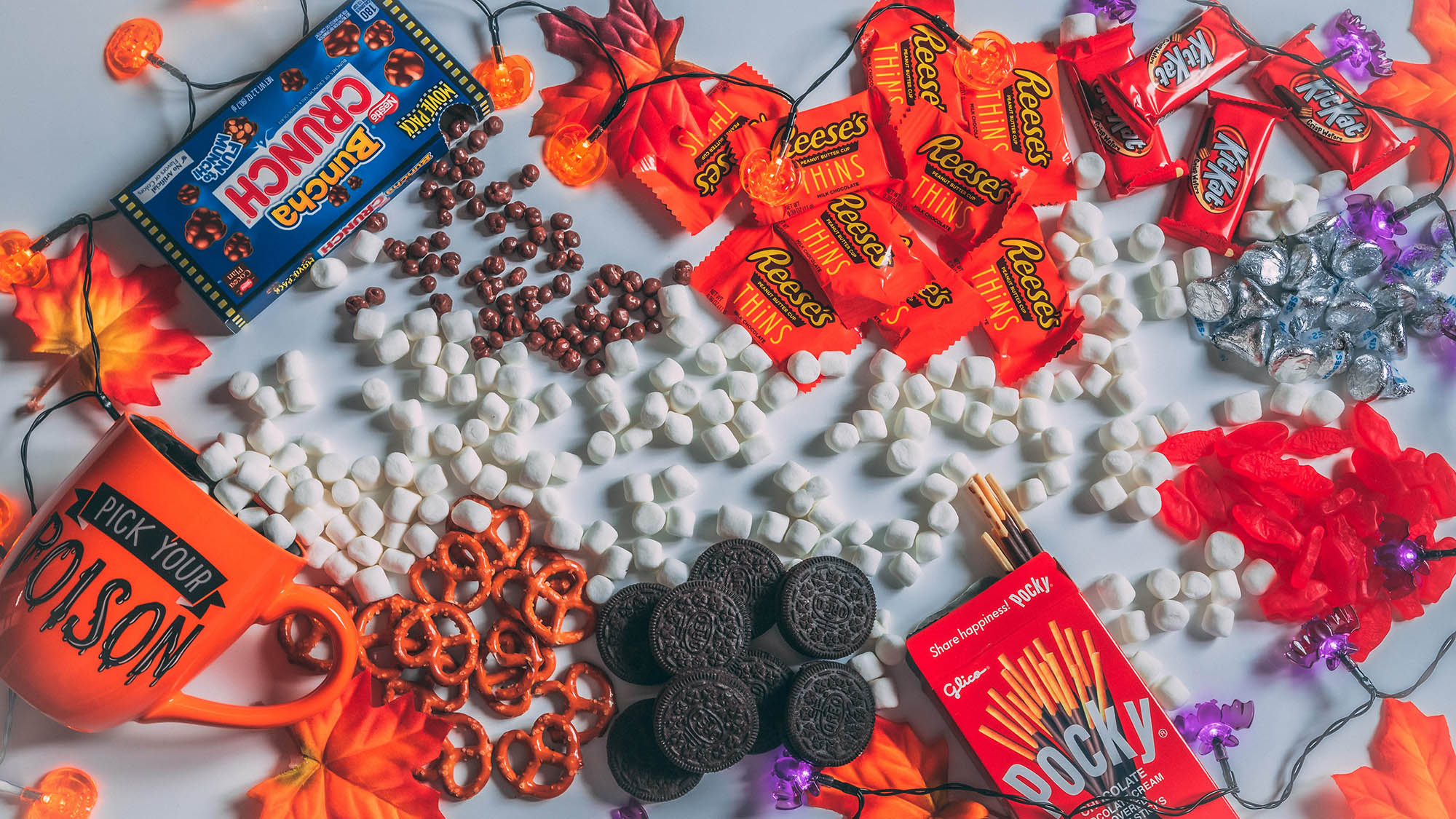 Halloween Candy Scattered on Decorative Table