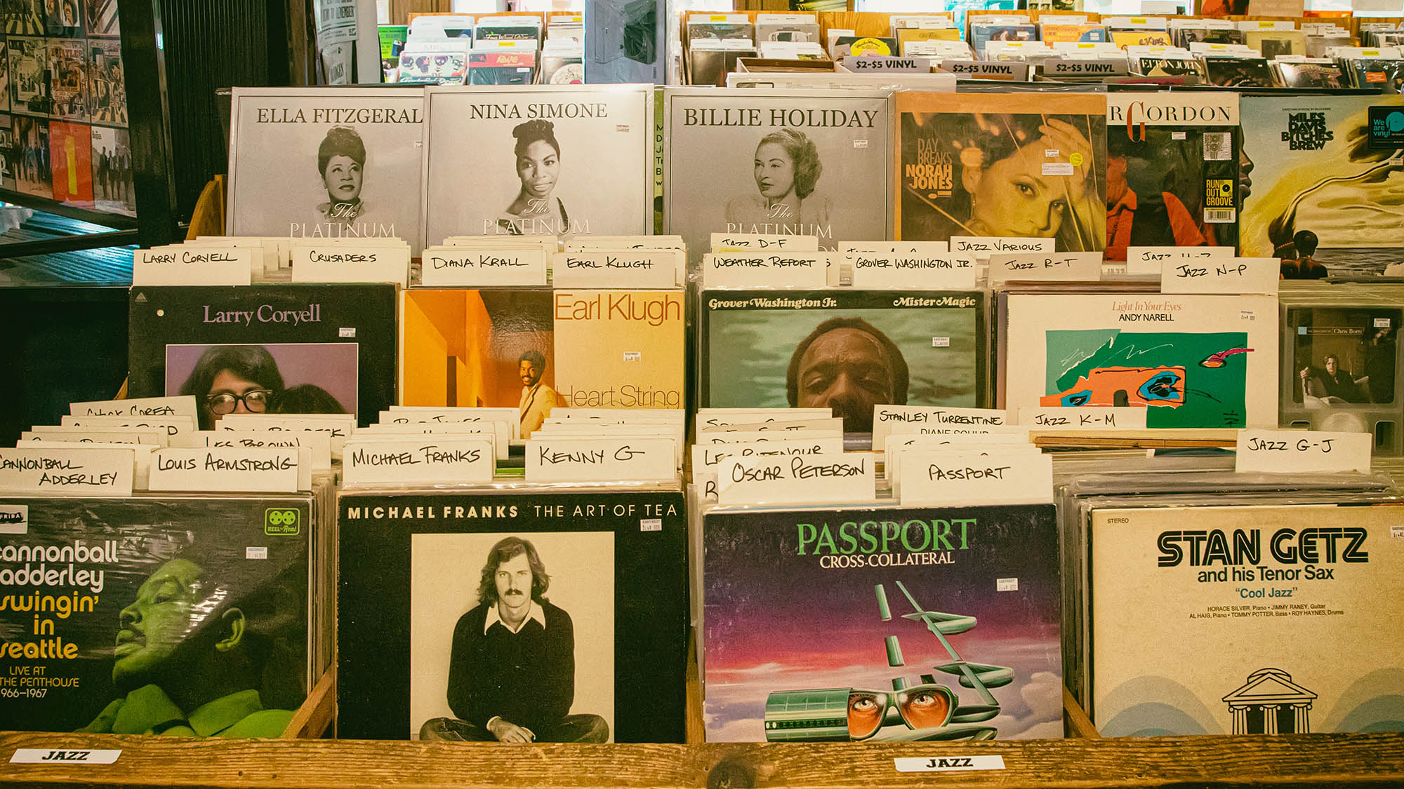 Jazz records on store shelf
