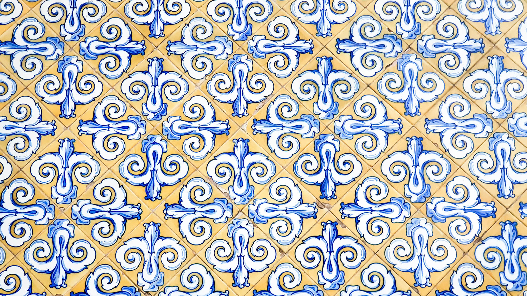 Blue yellow and white antique tiles