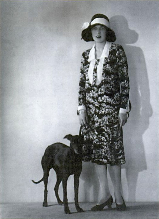 Caresse Crosby and her pet dog, whippet