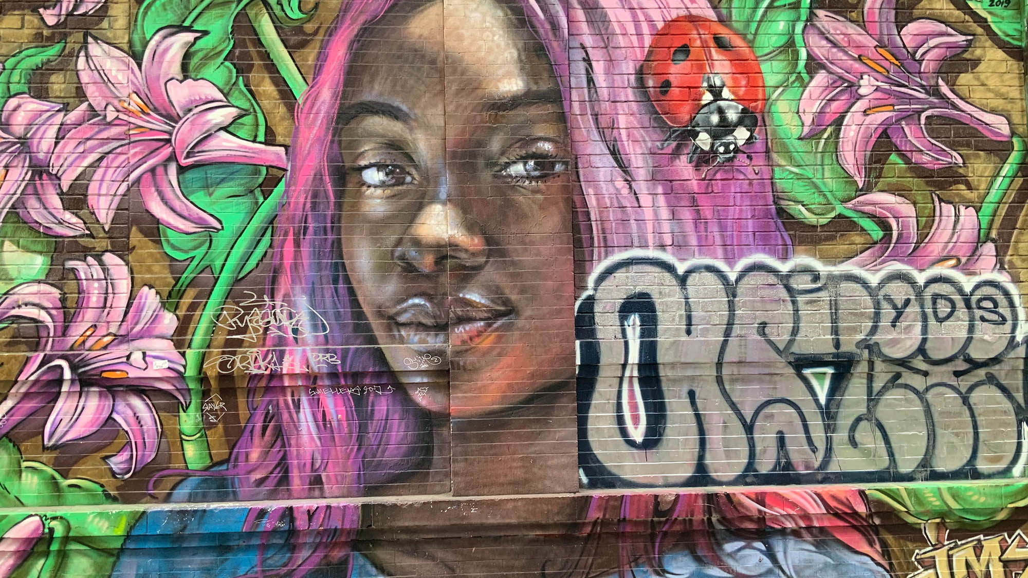 Mural of Black girl with purple hair with ladybug in ahir against pink and green flowers